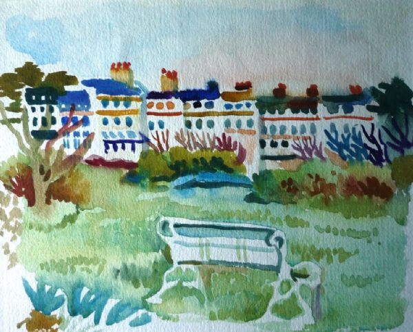 Fred Yates St Mary's Terrace from Morrab Gardens original watercolour
